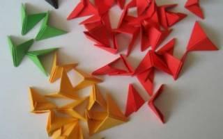 Как сделать бумажный модуль. Поделки из треугольных модулей.