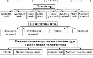Классификация труда по различным признакам. Виды труда и их характеристика
