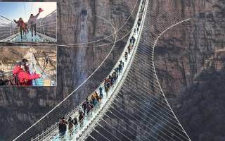 Стеклянный подвесной мост в китае. Стеклянный мост в китае