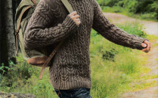 Мужские свитеры с косами. Узоры для вязания мужского свитера спицами