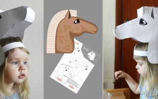 Маски животных на новый год. Маска лошади из бумаги своими руками