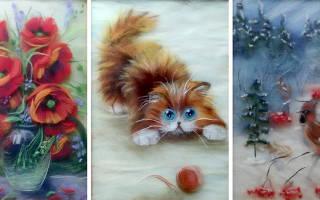Картины из шерсти пейзажи для начинающих. Картины из шерсти. Мастер-класс
